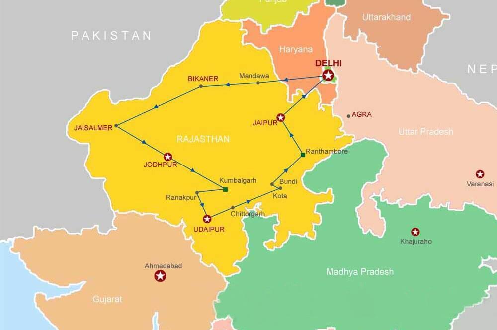 Rajasthan Tourist Map